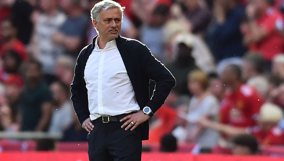 Manchester United's Portuguese manager Jose Mourinho gestures from the touchline during the English FA Cup final football match between Chelsea and Manchester United at Wembley stadium in London on May 19, 2018. (Photo by Glyn KIRK / AFP) / NOT FOR MARKETING OR ADVERTISING USE / RESTRICTED TO EDITORIAL USE        (Photo credit should read GLYN KIRK/AFP/Getty Images)
