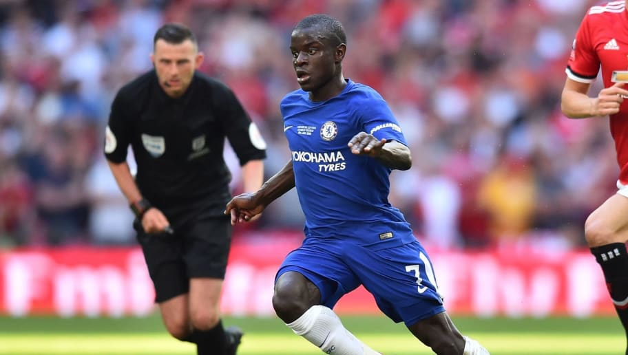 Chelsea's French midfielder N'Golo Kante runs with the ball during the English FA Cup final football match between Chelsea and Manchester United at Wembley stadium in London on May 19, 2018. (Photo by Glyn KIRK / AFP) / NOT FOR MARKETING OR ADVERTISING USE / RESTRICTED TO EDITORIAL USE        (Photo credit should read GLYN KIRK/AFP/Getty Images)