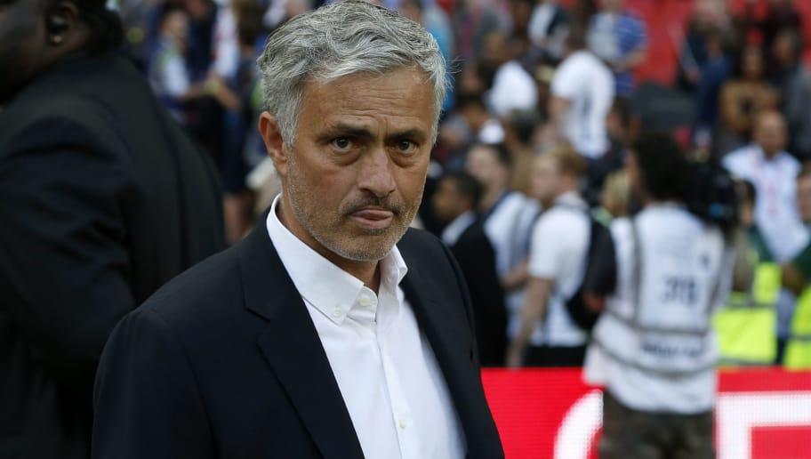 Manchester United's Portuguese manager Jose Mourinho geatures on the pitch after their defeat in the English FA Cup final football match between Chelsea and Manchester United at Wembley stadium in London on May 19, 2018. - Chelsea beat Manchester United 1-0 to lift the FA Cup thanks to Eden Hazard's penalty at Wembley on Saturday to salvage a disappointing season. (Photo by Ian KINGTON / AFP) / NOT FOR MARKETING OR ADVERTISING USE / RESTRICTED TO EDITORIAL USE        (Photo credit should read IAN KINGTON/AFP/Getty Images)
