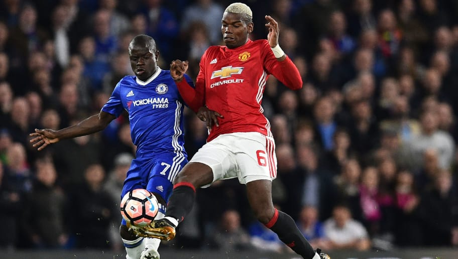 Chelsea's French midfielder N'Golo Kante (L) vies with Manchester United's French midfielder Paul Pogba during the English FA Cup quarter final football match between Chelsea and Manchester United at Stamford Bridge in London on March 13, 2017. / AFP PHOTO / Glyn KIRK / RESTRICTED TO EDITORIAL USE. No use with unauthorized audio, video, data, fixture lists, club/league logos or 'live' services. Online in-match use limited to 75 images, no video emulation. No use in betting, games or single club/league/player publications.  /         (Photo credit should read GLYN KIRK/AFP/Getty Images)