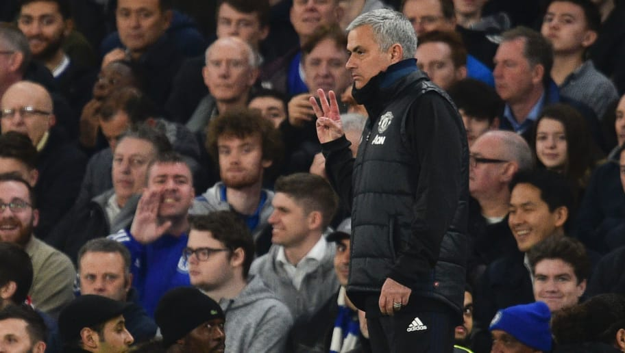 Manchester United's Portuguese manager Jose Mourinho gestures with three fingers on the touchline during the English FA Cup quarter final football match between Chelsea and Manchester United at Stamford Bridge in London on March 13, 2017. / AFP PHOTO / Glyn KIRK / RESTRICTED TO EDITORIAL USE. No use with unauthorized audio, video, data, fixture lists, club/league logos or 'live' services. Online in-match use limited to 75 images, no video emulation. No use in betting, games or single club/league/player publications.  /         (Photo credit should read GLYN KIRK/AFP/Getty Images)