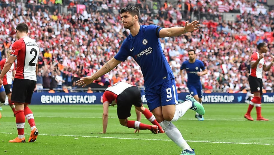 Chelsea's Spanish striker Alvaro Morata (C) celebrates scoring his team's second goal during the English FA Cup semi-final football match between Chelsea and Southampton at Wembley Stadium in London, on April 22, 2018. (Photo by Glyn KIRK / AFP) / NOT FOR MARKETING OR ADVERTISING USE / RESTRICTED TO EDITORIAL USE        (Photo credit should read GLYN KIRK/AFP/Getty Images)