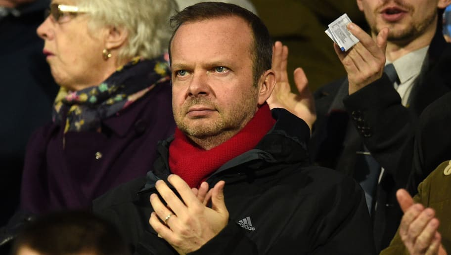 Manchester United's executive vice-chairman Ed Woodward takes his seat for the English FA Cup fifth round football match between Huddersfield Town and Manchester United at the John Smith's stadium in Huddersfield, northern England on February 17, 2018. / AFP PHOTO / Oli SCARFF / RESTRICTED TO EDITORIAL USE. No use with unauthorized audio, video, data, fixture lists, club/league logos or 'live' services. Online in-match use limited to 75 images, no video emulation. No use in betting, games or single club/league/player publications.  /         (Photo credit should read OLI SCARFF/AFP/Getty Images)