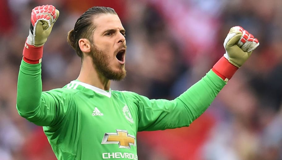 Manchester United's Spanish goalkeeper David de Gea reacts at the end of the English FA Cup semi-final football match between Tottenham Hotspur and Manchester United at Wembley Stadium in London, on April 21, 2018. (Photo by Glyn KIRK / AFP) / NOT FOR MARKETING OR ADVERTISING USE / RESTRICTED TO EDITORIAL USE        (Photo credit should read GLYN KIRK/AFP/Getty Images)