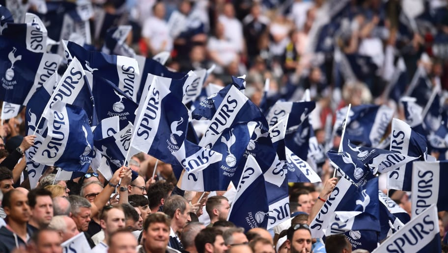 Tottenham fans wave flags ahead of kick off of the English FA Cup semi-final football match between Tottenham Hotspur and Manchester United at Wembley Stadium in London, on April 21, 2018. (Photo by Glyn KIRK / AFP) / NOT FOR MARKETING OR ADVERTISING USE / RESTRICTED TO EDITORIAL USE        (Photo credit should read GLYN KIRK/AFP/Getty Images)