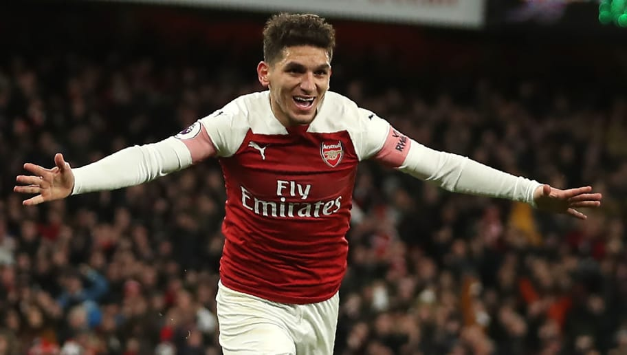 Arsenal's Uruguayan midfielder Lucas Torreira celebrates after scoring the opening goal of the English Premier League football match between Arsenal and Huddersfield Town at the Emirates Stadium in London on December 8, 2018. (Photo by Daniel LEAL-OLIVAS / AFP) / RESTRICTED TO EDITORIAL USE. No use with unauthorized audio, video, data, fixture lists, club/league logos or 'live' services. Online in-match use limited to 120 images. An additional 40 images may be used in extra time. No video emulation. Social media in-match use limited to 120 images. An additional 40 images may be used in extra time. No use in betting publications, games or single club/league/player publications. /         (Photo credit should read DANIEL LEAL-OLIVAS/AFP/Getty Images)