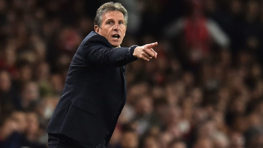 Leicester City's French manager Claude Puel gestures on the touchline during the English Premier League football match between Arsenal and Leicester City at the Emirates Stadium in London on October 22, 2018. (Photo by Glyn KIRK / IKIMAGES / AFP) / RESTRICTED TO EDITORIAL USE. No use with unauthorized audio, video, data, fixture lists, club/league logos or 'live' services. Online in-match use limited to 45 images, no video emulation. No use in betting, games or single club/league/player publications.        (Photo credit should read GLYN KIRK/AFP/Getty Images)