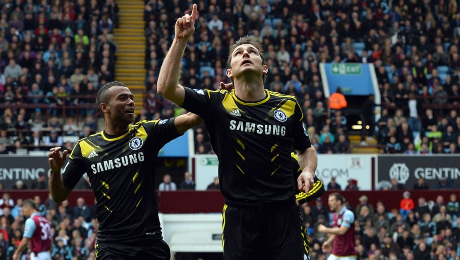 "Chelsea's English midfielder Frank Lampard (R) celebrates scoring his team's first goal with Chelsea's English defender Ashley Cole (L) during the English Premier League football match between Aston Villa and Chelsea at Villa Park in Birmingham, central England on May 11, 2013. Frank Lampard beat Bobby Tambling's Chelsea record of 202 goals when he scored twice in their Premier League match away to Aston Villa on May 11. AFP PHOTO / PAUL ELLIS   RESTRICTED TO EDITORIAL USE. No use with unauthorized audio, video, data, fixture lists, club/league logos or ""live"" services. Online in-match use limited to 45 images, no video emulation. No use in betting, games or single club/league/player publications.        (Photo credit should read PAUL ELLIS/AFP/Getty Images)"