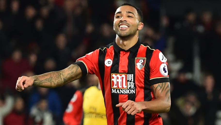 Bournemouth's English striker Callum Wilson celebrates after scoring their second goal from the penalty spot during the English Premier League football match between Bournemouth and Arsenal at the Vitality Stadium in Bournemouth, southern England on January 3, 2017. / AFP / Glyn KIRK / RESTRICTED TO EDITORIAL USE. No use with unauthorized audio, video, data, fixture lists, club/league logos or 'live' services. Online in-match use limited to 75 images, no video emulation. No use in betting, games or single club/league/player publications.  /         (Photo credit should read GLYN KIRK/AFP/Getty Images)