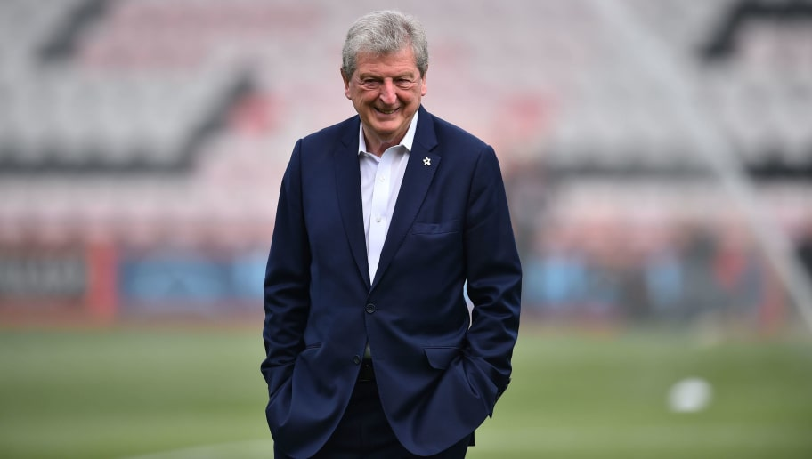 Crystal Palace's English manager Roy Hodgson walks the pitch ahead of the English Premier League football match between Bournemouth and Crystal Palace at the Vitality Stadium in Bournemouth, southern England on April 7, 2018. / AFP PHOTO / Glyn KIRK / RESTRICTED TO EDITORIAL USE. No use with unauthorized audio, video, data, fixture lists, club/league logos or 'live' services. Online in-match use limited to 75 images, no video emulation. No use in betting, games or single club/league/player publications.  /         (Photo credit should read GLYN KIRK/AFP/Getty Images)