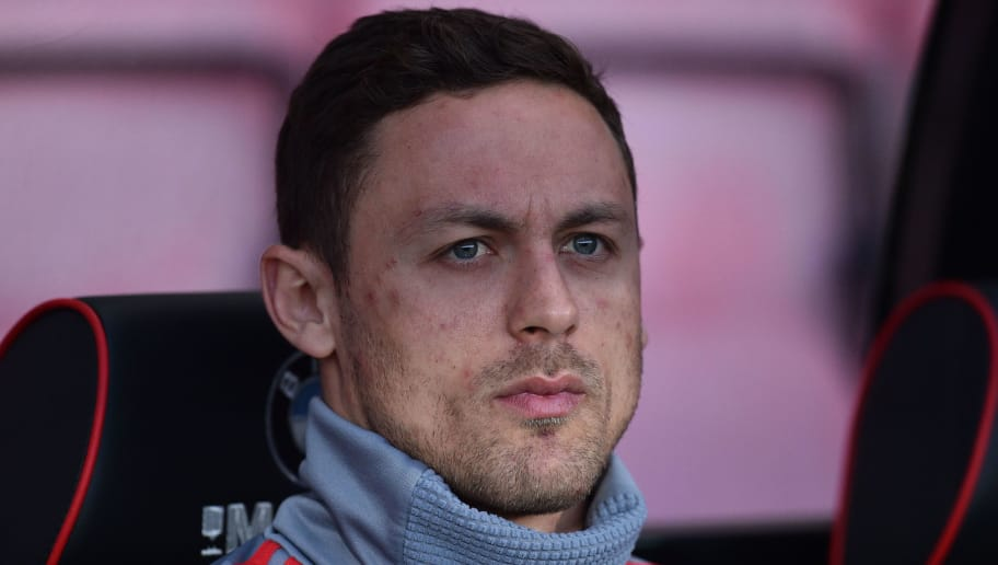 Manchester United's Serbian midfielder Nemanja Matic takes his place on the bench for the English Premier League football match between Bournemouth and Manchester United at the Vitality Stadium in Bournemouth, southern England on April 18, 2018. / AFP PHOTO / Glyn KIRK / RESTRICTED TO EDITORIAL USE. No use with unauthorized audio, video, data, fixture lists, club/league logos or 'live' services. Online in-match use limited to 75 images, no video emulation. No use in betting, games or single club/league/player publications.  /         (Photo credit should read GLYN KIRK/AFP/Getty Images)
