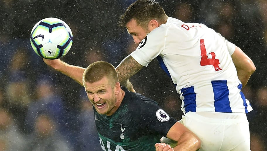 Brighton's Irish defender Shane Duffy (R) vies with Tottenham Hotspur's English defender Eric Dier during the English Premier League football match between Brighton and Tottenham Hotspur at the American Express Community Stadium in Brighton, southern England on September 22, 2018. (Photo by Glyn KIRK / AFP) / RESTRICTED TO EDITORIAL USE. No use with unauthorized audio, video, data, fixture lists, club/league logos or 'live' services. Online in-match use limited to 120 images. An additional 40 images may be used in extra time. No video emulation. Social media in-match use limited to 120 images. An additional 40 images may be used in extra time. No use in betting publications, games or single club/league/player publications. /         (Photo credit should read GLYN KIRK/AFP/Getty Images)