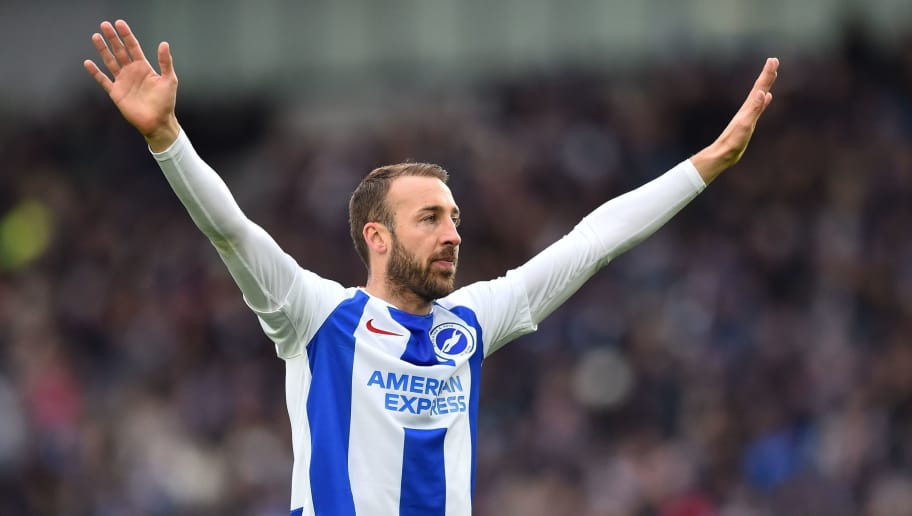 Brighton's English striker Glenn Murray reacts after scoring his 100th Brighton goal, the opening goal of the English Premier League football match between Brighton and Hove Albion and Wolverhampton Wanderers at the American Express Community Stadium in Brighton, southern England on October 27, 2018. (Photo by Glyn KIRK / AFP) / RESTRICTED TO EDITORIAL USE. No use with unauthorized audio, video, data, fixture lists, club/league logos or 'live' services. Online in-match use limited to 120 images. An additional 40 images may be used in extra time. No video emulation. Social media in-match use limited to 120 images. An additional 40 images may be used in extra time. No use in betting publications, games or single club/league/player publications. /         (Photo credit should read GLYN KIRK/AFP/Getty Images)