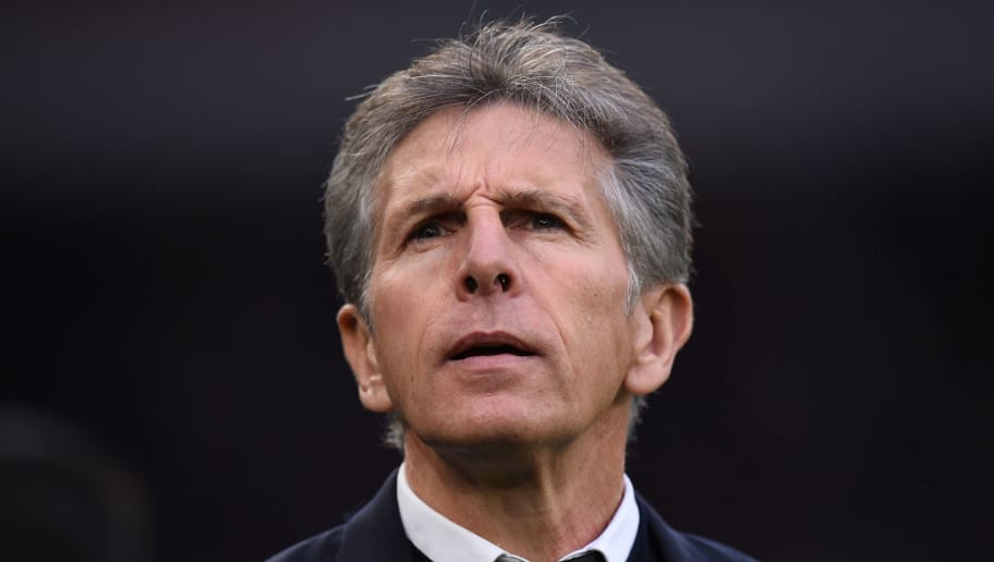 Leicester City's French manager Claude Puel reacts  during the English Premier League football match between between Cardiff City and Leicester City at Cardiff City Stadium in Cardiff, south Wales on November 3, 2018. (Photo by Oli SCARFF / AFP) / RESTRICTED TO EDITORIAL USE. No use with unauthorized audio, video, data, fixture lists, club/league logos or 'live' services. Online in-match use limited to 120 images. An additional 40 images may be used in extra time. No video emulation. Social media in-match use limited to 120 images. An additional 40 images may be used in extra time. No use in betting publications, games or single club/league/player publications. /         (Photo credit should read OLI SCARFF/AFP/Getty Images)