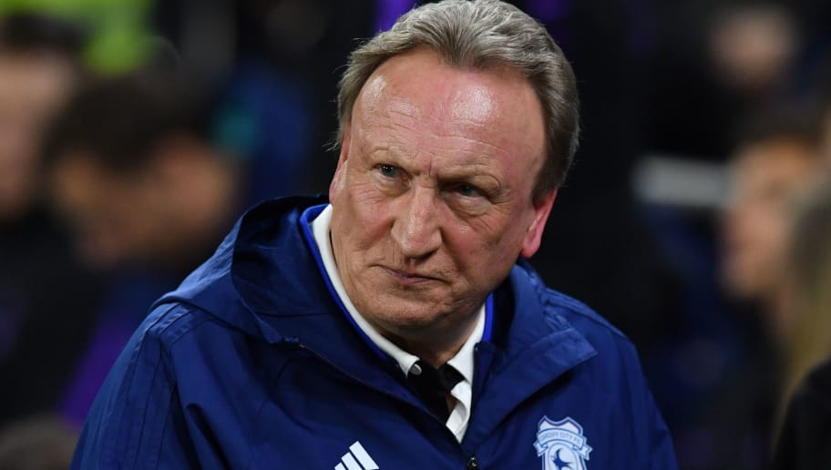 Cardiff City's English manager Neil Warnock reacts ahead of the English Premier League football match between between Cardiff City and Tottenham Hotspur at Cardiff City Stadium in Cardiff, south Wales on January 1, 2019. (Photo by Ben STANSALL / AFP) / RESTRICTED TO EDITORIAL USE. No use with unauthorized audio, video, data, fixture lists, club/league logos or 'live' services. Online in-match use limited to 120 images. An additional 40 images may be used in extra time. No video emulation. Social media in-match use limited to 120 images. An additional 40 images may be used in extra time. No use in betting publications, games or single club/league/player publications. / (Photo credit should read BEN STANSALL/AFP/Getty Images)