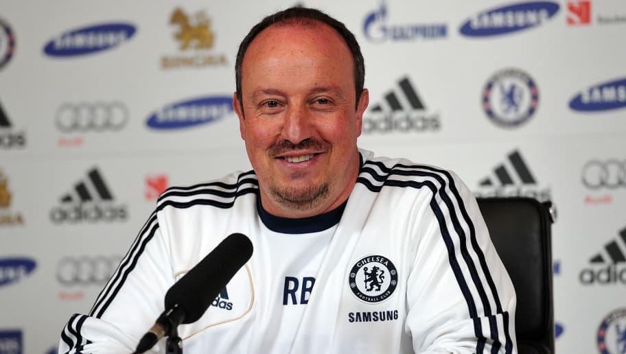 Chelsea's Spanish interim manager Rafael Benitez speaks during a press conference at Chelsea's training ground south of London on May 17, 2013. AFP PHOTO/CARL COURT        (Photo credit should read CARL COURT/AFP/Getty Images)