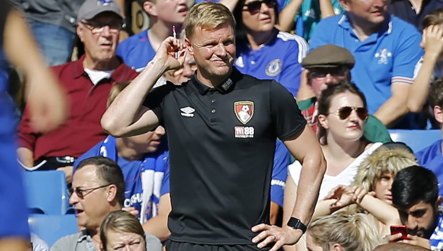 Bournemouth's English manager Eddie Howe reacts on the touchline during the English Premier League football match between Chelsea and Bournemouth at Stamford Bridge in London on September 1, 2018. (Photo by Ian KINGTON / AFP) / RESTRICTED TO EDITORIAL USE. No use with unauthorized audio, video, data, fixture lists, club/league logos or 'live' services. Online in-match use limited to 120 images. An additional 40 images may be used in extra time. No video emulation. Social media in-match use limited to 120 images. An additional 40 images may be used in extra time. No use in betting publications, games or single club/league/player publications. /         (Photo credit should read IAN KINGTON/AFP/Getty Images)