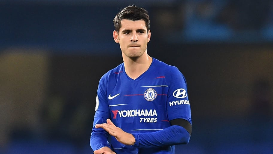 Chelsea's Spanish striker Alvaro Morata applauds supporters on the pitch after the English Premier League football match between Chelsea and Crystal Palace at Stamford Bridge in London on November 4, 2018. - Chelsea won the game 3-1. (Photo by Glyn KIRK / AFP) / RESTRICTED TO EDITORIAL USE. No use with unauthorized audio, video, data, fixture lists, club/league logos or 'live' services. Online in-match use limited to 120 images. An additional 40 images may be used in extra time. No video emulation. Social media in-match use limited to 120 images. An additional 40 images may be used in extra time. No use in betting publications, games or single club/league/player publications. /         (Photo credit should read GLYN KIRK/AFP/Getty Images)