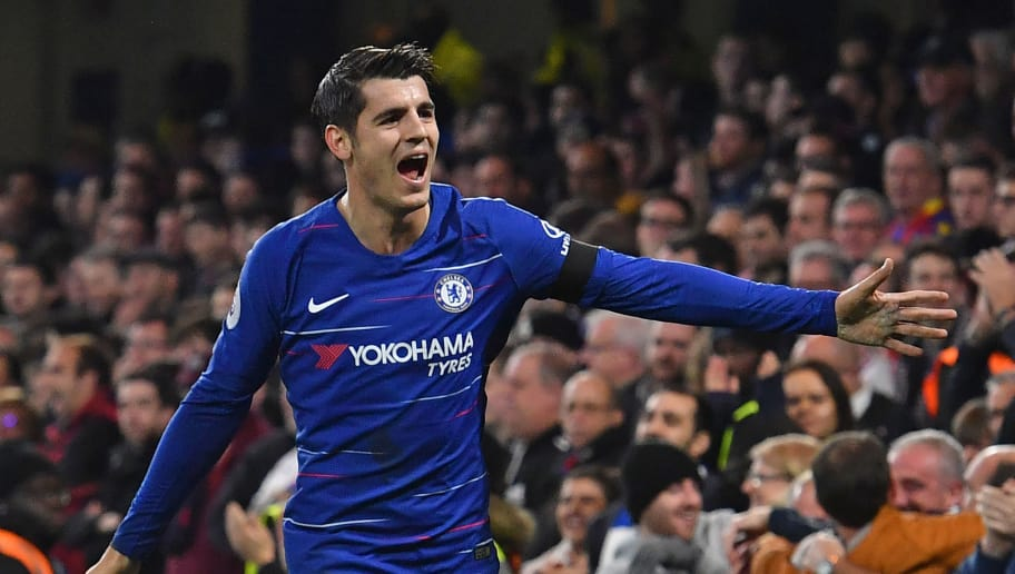 Chelsea's Spanish striker Alvaro Morata celebrates after scoring the opening goal of the English Premier League football match between Chelsea and Crystal Palace at Stamford Bridge in London on November 4, 2018. (Photo by Ben STANSALL / AFP) / RESTRICTED TO EDITORIAL USE. No use with unauthorized audio, video, data, fixture lists, club/league logos or 'live' services. Online in-match use limited to 120 images. An additional 40 images may be used in extra time. No video emulation. Social media in-match use limited to 120 images. An additional 40 images may be used in extra time. No use in betting publications, games or single club/league/player publications. /         (Photo credit should read BEN STANSALL/AFP/Getty Images)