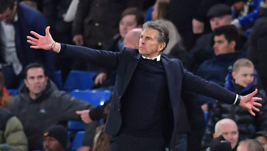 Leicester City's French manager Claude Puel gestures on the touchline during the English Premier League football match between Chelsea and Leicester City at Stamford Bridge in London on December 22, 2018. - Leicester won the game 1-0. (Photo by Ben STANSALL / AFP) / RESTRICTED TO EDITORIAL USE. No use with unauthorized audio, video, data, fixture lists, club/league logos or 'live' services. Online in-match use limited to 120 images. An additional 40 images may be used in extra time. No video emulation. Social media in-match use limited to 120 images. An additional 40 images may be used in extra time. No use in betting publications, games or single club/league/player publications. /         (Photo credit should read BEN STANSALL/AFP/Getty Images)