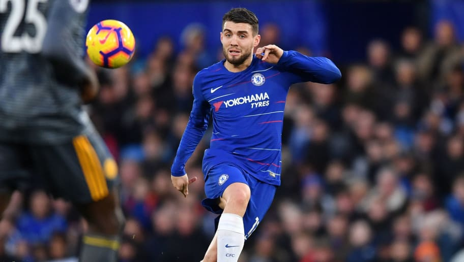 Chelsea's Croatian midfielder Mateo Kovacic passes the ball during the English Premier League football match between Chelsea and Leicester City at Stamford Bridge in London on December 22, 2018. (Photo by Ben STANSALL / AFP) / RESTRICTED TO EDITORIAL USE. No use with unauthorized audio, video, data, fixture lists, club/league logos or 'live' services. Online in-match use limited to 120 images. An additional 40 images may be used in extra time. No video emulation. Social media in-match use limited to 120 images. An additional 40 images may be used in extra time. No use in betting publications, games or single club/league/player publications. /         (Photo credit should read BEN STANSALL/AFP/Getty Images)