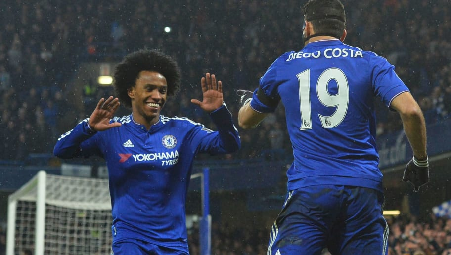 Chelsea's Brazilian-born Spanish striker Diego Costa (R) celebrates scoring his team's first goal with Chelsea's Brazilian midfielder Willian during the English Premier League football match between Chelsea and Newcastle United at Stamford Bridge in London on February 13, 2016.  / AFP / GLYN KIRK / RESTRICTED TO EDITORIAL USE. No use with unauthorized audio, video, data, fixture lists, club/league logos or 'live' services. Online in-match use limited to 75 images, no video emulation. No use in betting, games or single club/league/player publications.  /         (Photo credit should read GLYN KIRK/AFP/Getty Images)
