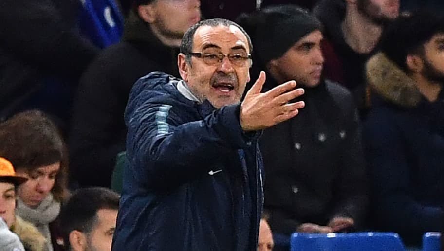 Chelsea's Italian head coach Maurizio Sarri gestures on the touchline during the English Premier League football match between Chelsea and Southampton at Stamford Bridge in London on January 2, 2019. (Photo by Ben STANSALL / AFP) / RESTRICTED TO EDITORIAL USE. No use with unauthorized audio, video, data, fixture lists, club/league logos or 'live' services. Online in-match use limited to 120 images. An additional 40 images may be used in extra time. No video emulation. Social media in-match use limited to 120 images. An additional 40 images may be used in extra time. No use in betting publications, games or single club/league/player publications. /         (Photo credit should read BEN STANSALL/AFP/Getty Images)