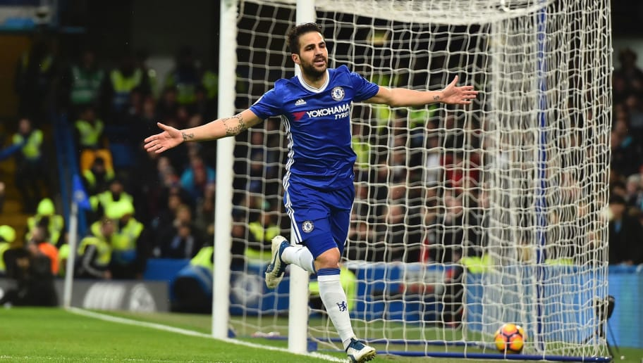 Chelsea's Spanish midfielder Cesc Fabregas celebrates scoring the opening goal during the English Premier League football match between Chelsea and Swansea at Stamford Bridge in London on February 25, 2017. / AFP / Glyn KIRK / RESTRICTED TO EDITORIAL USE. No use with unauthorized audio, video, data, fixture lists, club/league logos or 'live' services. Online in-match use limited to 75 images, no video emulation. No use in betting, games or single club/league/player publications.  /         (Photo credit should read GLYN KIRK/AFP/Getty Images)