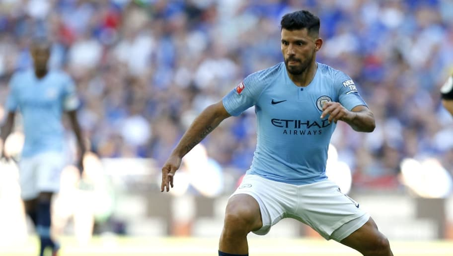Manchester City's Argentinian striker Sergio Aguero controls the ball during the English FA Community Shield football match between Chelsea and Manchester City at Wembley Stadium in north London on August 5, 2018. (Photo by Ian KINGTON / AFP) / NOT FOR MARKETING OR ADVERTISING USE / RESTRICTED TO EDITORIAL USE        (Photo credit should read IAN KINGTON/AFP/Getty Images)