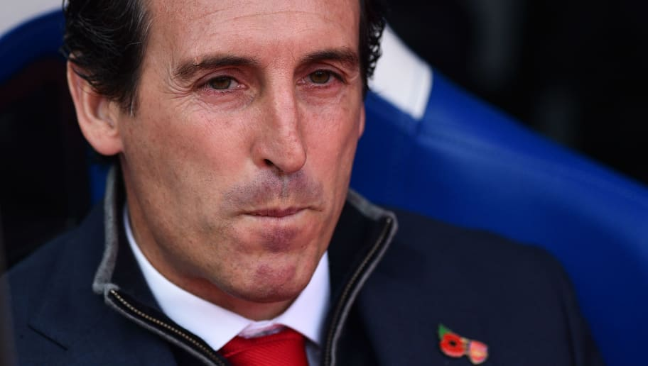 Arsenal's Spanish head coach Unai Emery is seen ahead of the English Premier League football match between Crystal Palace and Arsenal at Selhurst Park in south London on October 28, 2018. (Photo by Glyn KIRK / AFP) / RESTRICTED TO EDITORIAL USE. No use with unauthorized audio, video, data, fixture lists, club/league logos or 'live' services. Online in-match use limited to 120 images. An additional 40 images may be used in extra time. No video emulation. Social media in-match use limited to 120 images. An additional 40 images may be used in extra time. No use in betting publications, games or single club/league/player publications. /         (Photo credit should read GLYN KIRK/AFP/Getty Images)