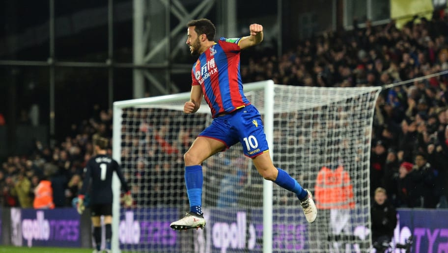 Crystal Palace's English midfielder Andros Townsend scoring the opening goal during the English Premier League football match between Crystal Palace and Manchester United at Selhurst Park in south London on March 5, 2018. / AFP PHOTO / Glyn KIRK / RESTRICTED TO EDITORIAL USE. No use with unauthorized audio, video, data, fixture lists, club/league logos or 'live' services. Online in-match use limited to 75 images, no video emulation. No use in betting, games or single club/league/player publications.  / The erroneous mention[s] appearing in the metadata of this photo by Glyn KIRK                           has been modified in AFP systems in the following manner: [Crystal Palace's English midfielder Andros Townsend scoring the opening goal] instead of [Crystal Palace's English midfielder Andros Townsend celebrates after Crystal Palace's Zaire-born Belgian striker Christian Benteke (unseen)]. Please immediately remove the erroneous mention[s] from all your online services and delete it (them) from your servers. If you have been authorized by AFP to distribute it (them) to third parties, please ensure that the same actions are carried out by them. Failure to promptly comply with these instructions will entail liability on your part for any continued or post notification usage. Therefore we thank you very much for all your attention and prompt action. We are sorry for the inconvenience this notification may cause and remain at your disposal for any further information you may require.        (Photo credit should read GLYN KIRK/AFP/Getty Images)