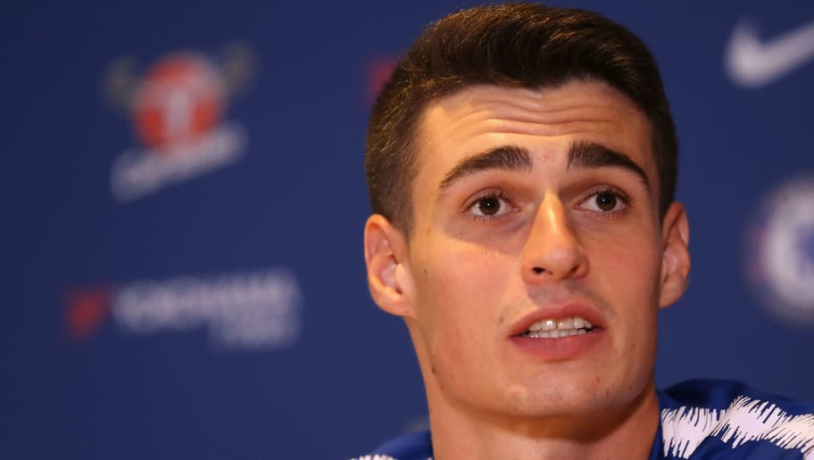 Chelsea's new goalkeeper, Spain's Kepa Arrizabalaga gestures as he attends his unveiling press conference at Stamford Bridge in west London on August 9, 2018. - Spain's Kepa Arrizabalaga became the most expensive goalkeeper in history after Chelsea confirmed his 80 million euro (£71.6 million, $92 million) move from Athletic Bilbao. (Photo by Daniel LEAL-OLIVAS / AFP)        (Photo credit should read DANIEL LEAL-OLIVAS/AFP/Getty Images)