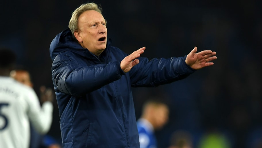Cardiff City's English manager Neil Warnock gestures on the pitch after the English Premier League football match between Everton and Cardiff City at Goodison Park in Liverpool, north west England on November 24, 2018. - Everton won the game 1-0. (Photo by Paul ELLIS / AFP) / RESTRICTED TO EDITORIAL USE. No use with unauthorized audio, video, data, fixture lists, club/league logos or 'live' services. Online in-match use limited to 120 images. An additional 40 images may be used in extra time. No video emulation. Social media in-match use limited to 120 images. An additional 40 images may be used in extra time. No use in betting publications, games or single club/league/player publications. /         (Photo credit should read PAUL ELLIS/AFP/Getty Images)