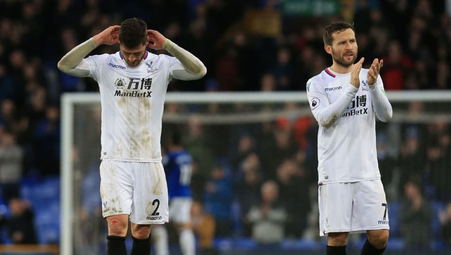 Crystal Palace's English defender Joel Ward (L) and Crystal Palace's French midfielder Yohan Cabaye react at the final whistle during the English Premier League football match between Everton and Crystal Palace at Goodison Park in Liverpool, north west England on February 10, 2018. / AFP PHOTO / Lindsey PARNABY / RESTRICTED TO EDITORIAL USE. No use with unauthorized audio, video, data, fixture lists, club/league logos or 'live' services. Online in-match use limited to 75 images, no video emulation. No use in betting, games or single club/league/player publications.  /         (Photo credit should read LINDSEY PARNABY/AFP/Getty Images)
