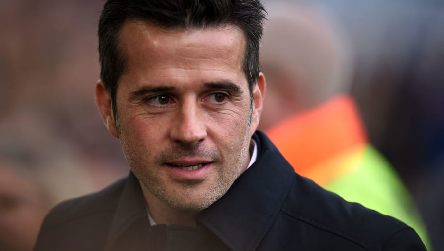 Everton's Portuguese manager Marco Silva arrives for the English Premier League football match between Everton and Crystal Palace at Goodison Park in Liverpool, north west England on October 21, 2018. (Photo by Oli SCARFF / AFP) / RESTRICTED TO EDITORIAL USE. No use with unauthorized audio, video, data, fixture lists, club/league logos or 'live' services. Online in-match use limited to 120 images. An additional 40 images may be used in extra time. No video emulation. Social media in-match use limited to 120 images. An additional 40 images may be used in extra time. No use in betting publications, games or single club/league/player publications. /         (Photo credit should read OLI SCARFF/AFP/Getty Images)