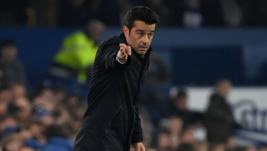 Everton's Portuguese manager Marco Silva shouts instructions to his players from the touchline during the English Premier League football match between Everton and Newcastle United at Goodison Park in Liverpool, north west England on December 5, 2018. (Photo by Paul ELLIS / AFP) / RESTRICTED TO EDITORIAL USE. No use with unauthorized audio, video, data, fixture lists, club/league logos or 'live' services. Online in-match use limited to 120 images. An additional 40 images may be used in extra time. No video emulation. Social media in-match use limited to 120 images. An additional 40 images may be used in extra time. No use in betting publications, games or single club/league/player publications. /         (Photo credit should read PAUL ELLIS/AFP/Getty Images)