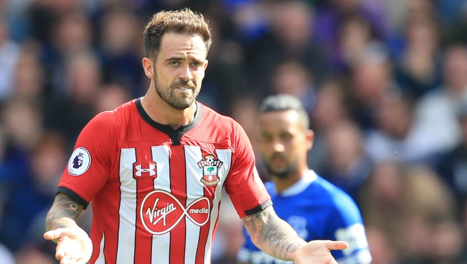Southampton's English striker Danny Ings reacts after scoring their first goal during the English Premier League football match between Everton and Southampton at Goodison Park in Liverpool, north west England on August 18, 2018. (Photo by Lindsey PARNABY / AFP) / RESTRICTED TO EDITORIAL USE. No use with unauthorized audio, video, data, fixture lists, club/league logos or 'live' services. Online in-match use limited to 120 images. An additional 40 images may be used in extra time. No video emulation. Social media in-match use limited to 120 images. An additional 40 images may be used in extra time. No use in betting publications, games or single club/league/player publications. /         (Photo credit should read LINDSEY PARNABY/AFP/Getty Images)