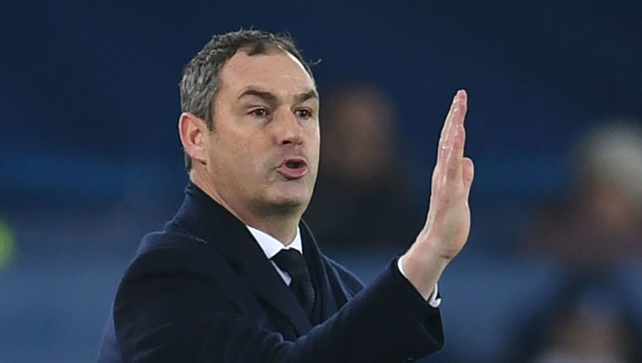 Swansea City's English head coach Paul Clement gestures during the English Premier League football match between Everton and Swansea City at Goodison Park in Liverpool, north west England on December 18, 2017. / AFP PHOTO / Paul ELLIS / RESTRICTED TO EDITORIAL USE. No use with unauthorized audio, video, data, fixture lists, club/league logos or 'live' services. Online in-match use limited to 75 images, no video emulation. No use in betting, games or single club/league/player publications.  /         (Photo credit should read PAUL ELLIS/AFP/Getty Images)