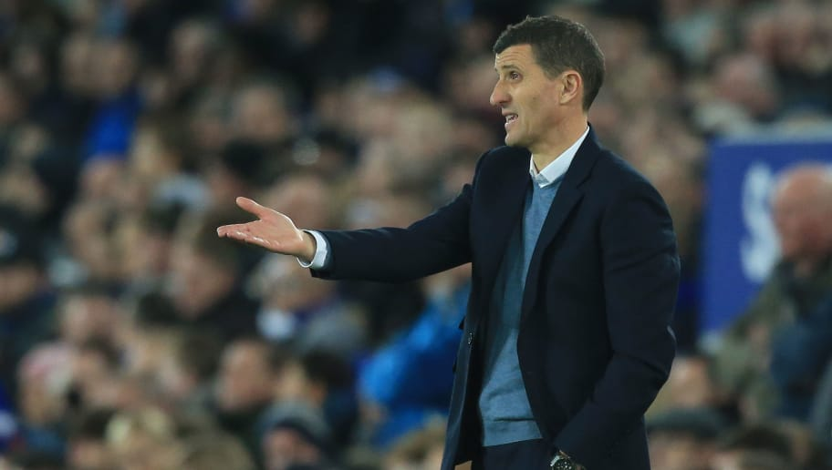 Watford's Spanish head coach Javi Gracia shouts instructions to his players from the touchline during the English Premier League football match between Everton and Watford at Goodison Park in Liverpool, north west England on December 10, 2018. (Photo by Lindsey PARNABY / AFP) / RESTRICTED TO EDITORIAL USE. No use with unauthorized audio, video, data, fixture lists, club/league logos or 'live' services. Online in-match use limited to 120 images. An additional 40 images may be used in extra time. No video emulation. Social media in-match use limited to 120 images. An additional 40 images may be used in extra time. No use in betting publications, games or single club/league/player publications. /         (Photo credit should read LINDSEY PARNABY/AFP/Getty Images)