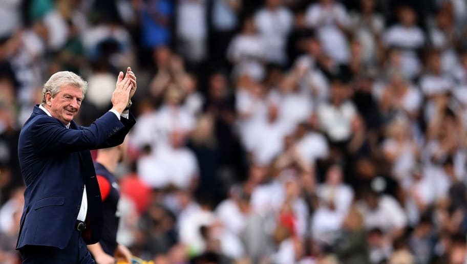 Crystal Palace's English manager Roy Hodgson applauds the fans following the English Premier League football match between Fulham and Crystal Palace at Craven Cottage in London on August 11, 2018. - Crystal Palace won the match 2-0. (Photo by Glyn KIRK / AFP) / RESTRICTED TO EDITORIAL USE. No use with unauthorized audio, video, data, fixture lists, club/league logos or 'live' services. Online in-match use limited to 75 images, no video emulation. No use in betting, games or single club/league/player publications. /         (Photo credit should read GLYN KIRK/AFP/Getty Images)