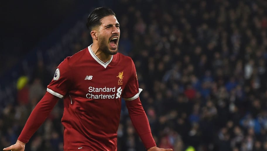 Liverpool's German midfielder Emre Can celebrates scoring the opening goal during the English Premier League football match between Huddersfield Town and Liverpool at the John Smith's stadium in Huddersfield, northern England on January 30, 2018. / AFP PHOTO / PAUL ELLIS / RESTRICTED TO EDITORIAL USE. No use with unauthorized audio, video, data, fixture lists, club/league logos or 'live' services. Online in-match use limited to 75 images, no video emulation. No use in betting, games or single club/league/player publications.  /         (Photo credit should read PAUL ELLIS/AFP/Getty Images)