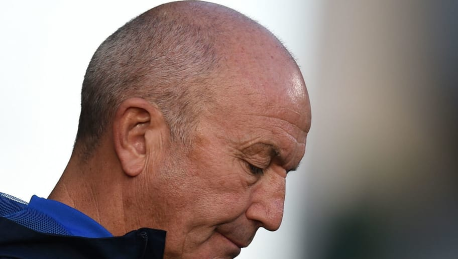 West Bromwich Albion's Welsh head coach Tony Pulis looks on before the English Premier League football match between Huddersfield Town and West Bromwich Albion at the John Smith's stadium in Huddersfield, northern England on November 4, 2017. / AFP PHOTO / Oli SCARFF / RESTRICTED TO EDITORIAL USE. No use with unauthorized audio, video, data, fixture lists, club/league logos or 'live' services. Online in-match use limited to 75 images, no video emulation. No use in betting, games or single club/league/player publications.  /         (Photo credit should read OLI SCARFF/AFP/Getty Images)