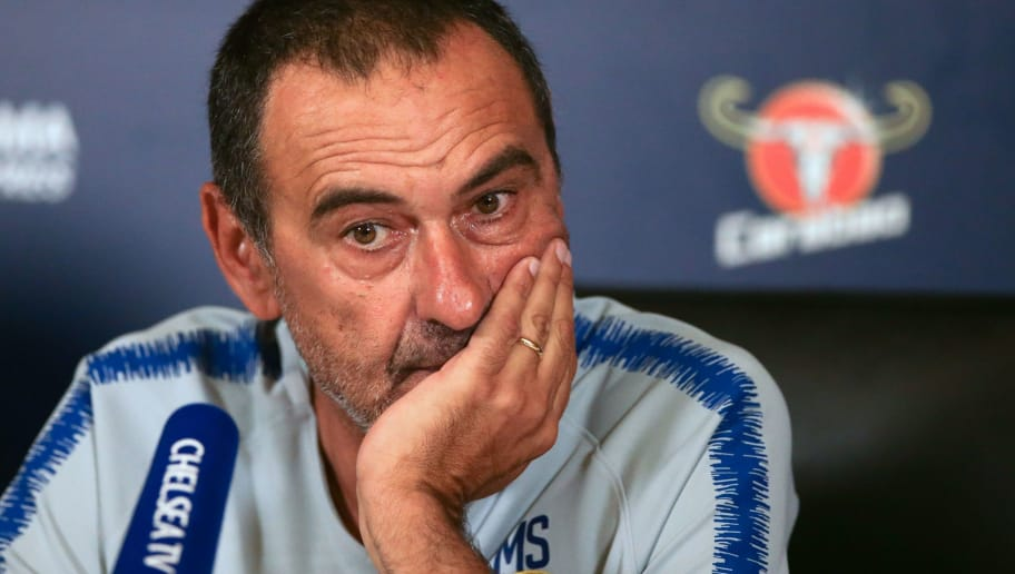 Chelsea's Italian manager Maurizio Sarri looks on during a press conference at Chelsea FC Cobham Training Ground in Stoke D'Abernon, southwest of London on August 3, 2018, prior to their FA Community Shield match against Manchester City on August 5. (Photo by Daniel LEAL-OLIVAS / AFP)        (Photo credit should read DANIEL LEAL-OLIVAS/AFP/Getty Images)