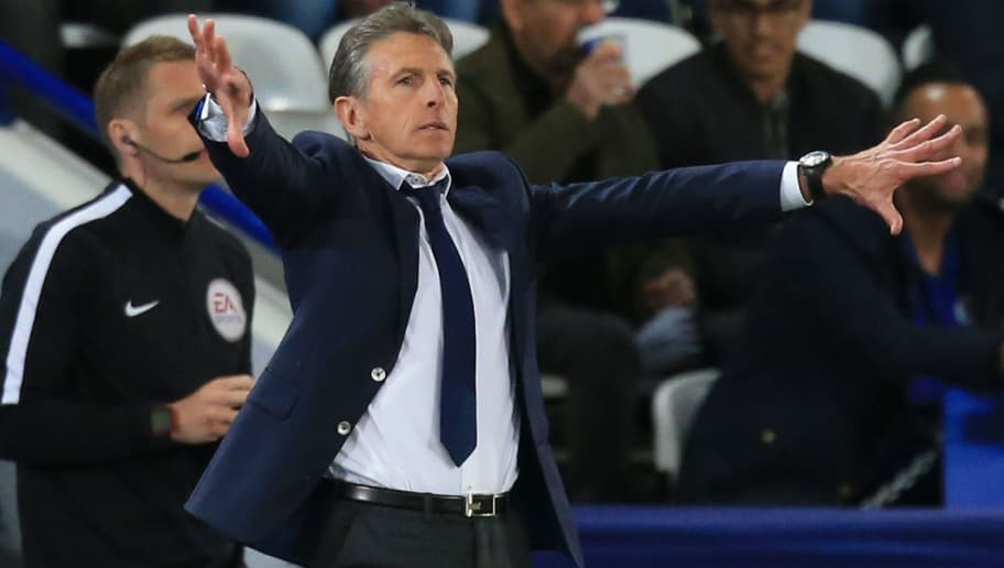 Leicester City's French manager Claude Puel gestures from the touch line during the English Premier League football match between Leicester City and Arsenal at King Power Stadium in Leicester, central England on May 9, 2018. (Photo by Lindsey PARNABY / AFP) / RESTRICTED TO EDITORIAL USE. No use with unauthorized audio, video, data, fixture lists, club/league logos or 'live' services. Online in-match use limited to 75 images, no video emulation. No use in betting, games or single club/league/player publications. /         (Photo credit should read LINDSEY PARNABY/AFP/Getty Images)
