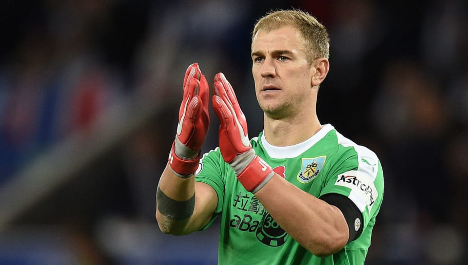 Burnley's English goalkeeper Joe Hart applauds the fans following the English Premier League football match between Leicester City and Burnley at King Power Stadium in Leicester, central England on November 10, 2018. - The match ended in a draw at 0-0. (Photo by Oli SCARFF / AFP) / RESTRICTED TO EDITORIAL USE. No use with unauthorized audio, video, data, fixture lists, club/league logos or 'live' services. Online in-match use limited to 120 images. An additional 40 images may be used in extra time. No video emulation. Social media in-match use limited to 120 images. An additional 40 images may be used in extra time. No use in betting publications, games or single club/league/player publications. /         (Photo credit should read OLI SCARFF/AFP/Getty Images)
