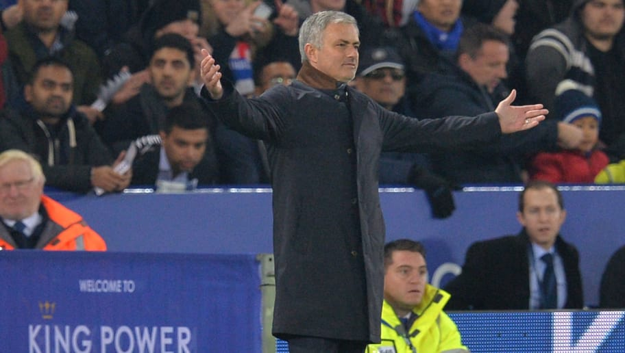 Chelsea's Portuguese manager Jose Mourinho gestures during the English Premier League football match between Leicester City and Chelsea at the King Power Stadium in Leicester, central England on December 14, 2015.  AFP PHOTO / PAUL ELLIS RESTRICTED TO EDITORIAL USE. No use with unauthorized audio, video, data, fixture lists, club/league logos or 'live' services. Online in-match use limited to 75 images, no video emulation. No use in betting, games or single club/league/player publications. / AFP / PAUL ELLIS        (Photo credit should read PAUL ELLIS/AFP/Getty Images)