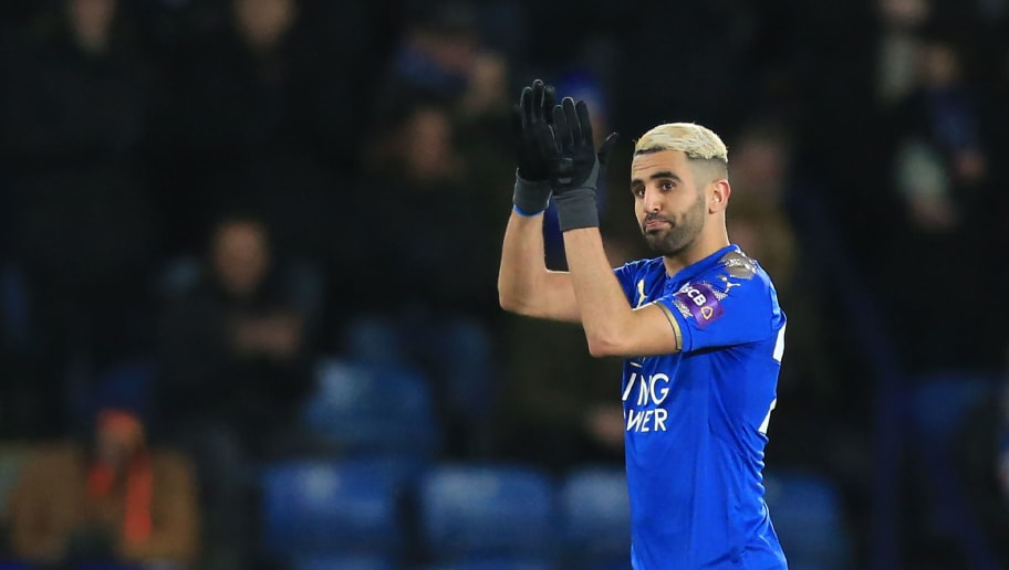 Leicester City's Algerian midfielder Riyad Mahrez reacts as he is substituted during the English FA Cup fifth round football match between Leicester City and Sheffield United at King Power Stadium in Leicester, central England on February 16, 2018. / AFP PHOTO / Lindsey PARNABY / RESTRICTED TO EDITORIAL USE. No use with unauthorized audio, video, data, fixture lists, club/league logos or 'live' services. Online in-match use limited to 75 images, no video emulation. No use in betting, games or single club/league/player publications.  /         (Photo credit should read LINDSEY PARNABY/AFP/Getty Images)