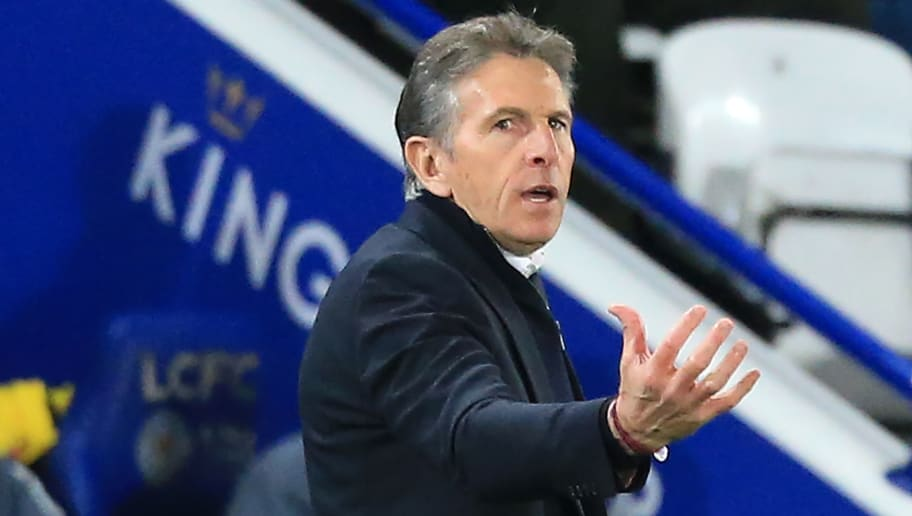 Leicester City's French manager Claude Puel gestures on the touchline during the English Premier League football match between Leicester City and Watford at King Power Stadium in Leicester, central England on December 1, 2018. - Leicester won the game 2-0. (Photo by Lindsey PARNABY / AFP) / RESTRICTED TO EDITORIAL USE. No use with unauthorized audio, video, data, fixture lists, club/league logos or 'live' services. Online in-match use limited to 120 images. An additional 40 images may be used in extra time. No video emulation. Social media in-match use limited to 120 images. An additional 40 images may be used in extra time. No use in betting publications, games or single club/league/player publications. /         (Photo credit should read LINDSEY PARNABY/AFP/Getty Images)