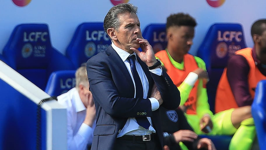Leicester City's French manager Claude Puel during the English Premier League football match between Leicester City and West Ham United at King Power Stadium in Leicester, central England on May 5, 2018. (Photo by Lindsey PARNABY / AFP) / RESTRICTED TO EDITORIAL USE. No use with unauthorized audio, video, data, fixture lists, club/league logos or 'live' services. Online in-match use limited to 75 images, no video emulation. No use in betting, games or single club/league/player publications. /         (Photo credit should read LINDSEY PARNABY/AFP/Getty Images)