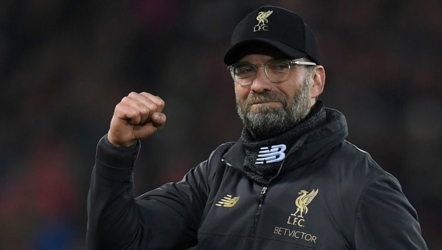 Liverpool's German manager Jurgen Klopp applauds the fans following the English Premier League football match between Liverpool and Arsenal at Anfield in Liverpool, north west England on December 29, 2018. - Liverpool won the match 5-1. (Photo by Paul ELLIS / AFP) / RESTRICTED TO EDITORIAL USE. No use with unauthorized audio, video, data, fixture lists, club/league logos or 'live' services. Online in-match use limited to 120 images. An additional 40 images may be used in extra time. No video emulation. Social media in-match use limited to 120 images. An additional 40 images may be used in extra time. No use in betting publications, games or single club/league/player publications. /         (Photo credit should read PAUL ELLIS/AFP/Getty Images)